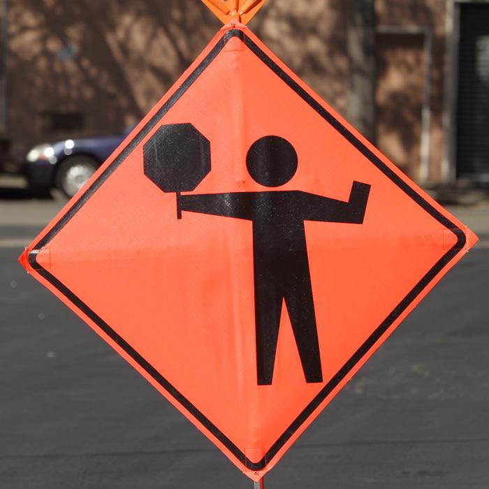 Highway Sign / Flagman Ahead