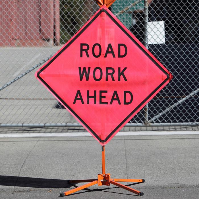 Highway Sign / Road Work Ahead